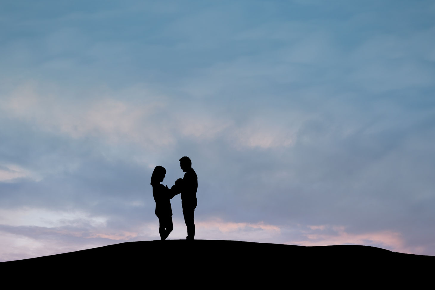 silhouette of mother, new baby, and father on a hill against a blue and pink sky with clouds