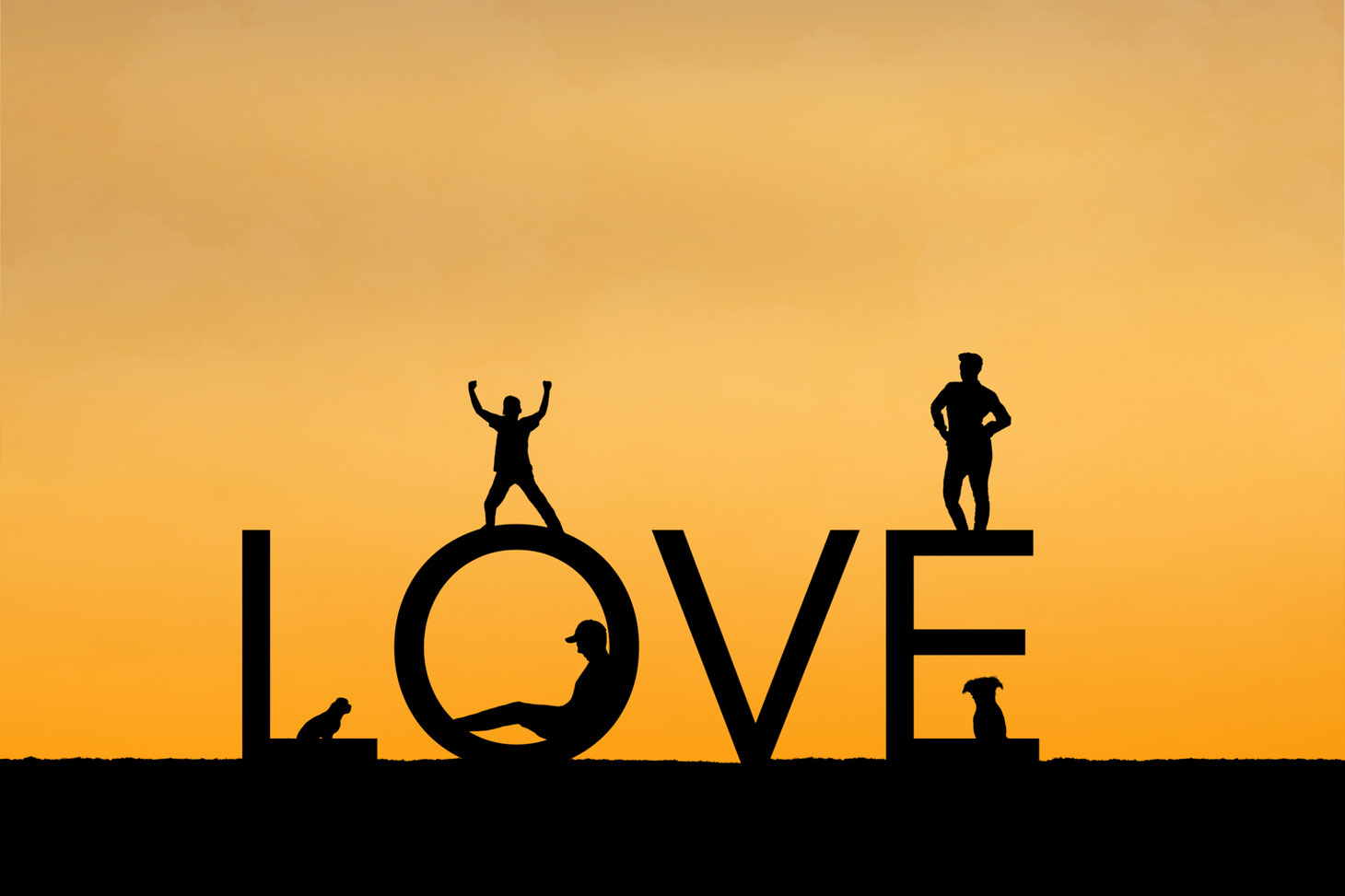 Silhouettes of 2 parents, one child, and 2 dogs on the letters LOVE. Sky is orange.