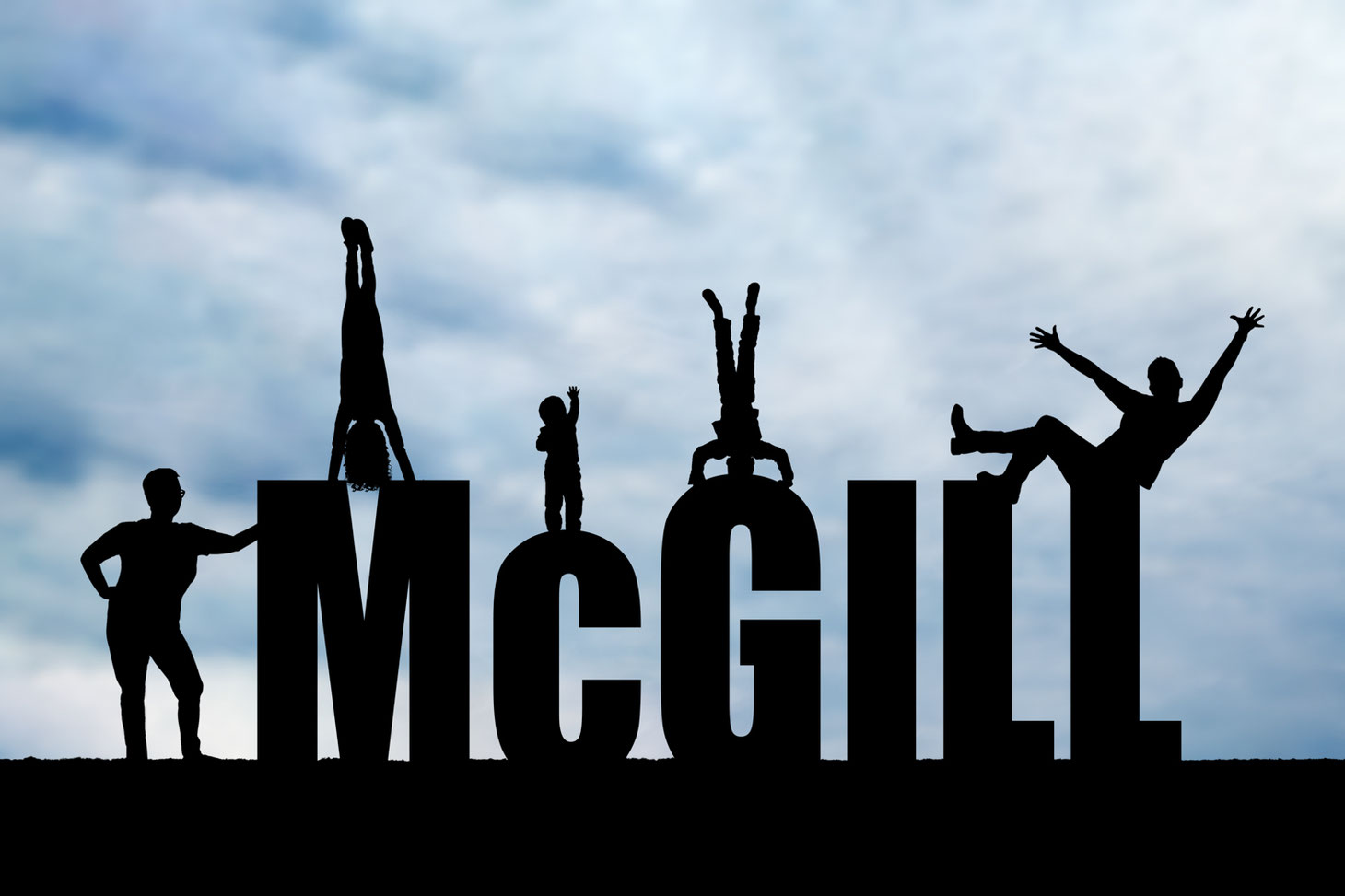 silhouettes two moms and three children on the letters McGILL. One mom is leaning against the M, other mom is sitting on the last L. Oldest child is doing a handstand on the M. Smallest child is standing on the C reaching to the sky. Middle child on G.
