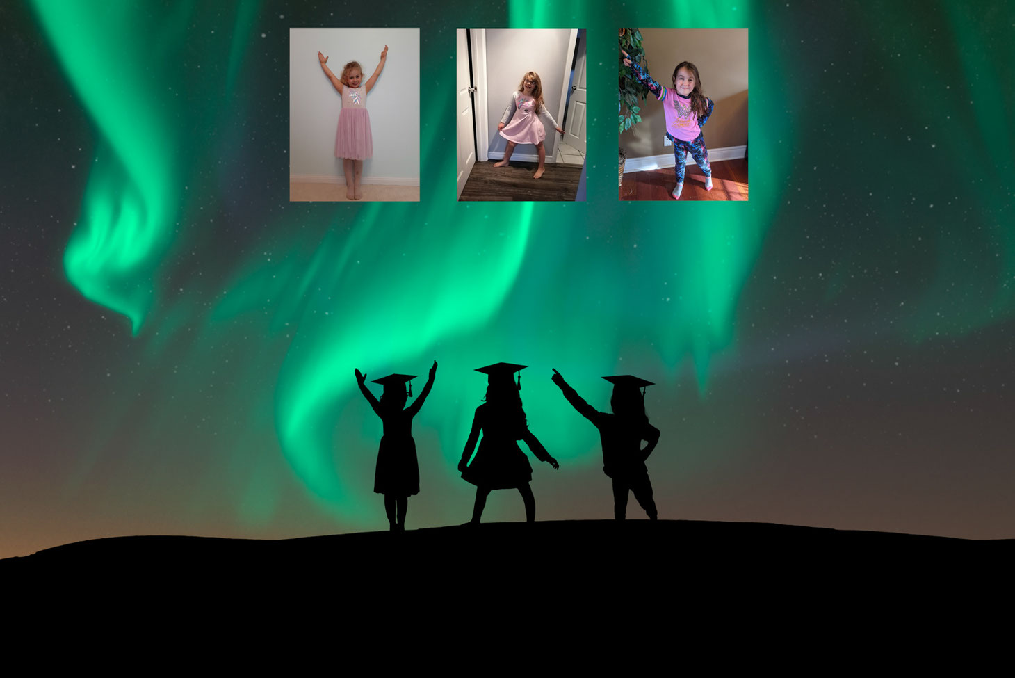 silhouettes of 3 girls with grad caps in front of a sky with the northern lights.