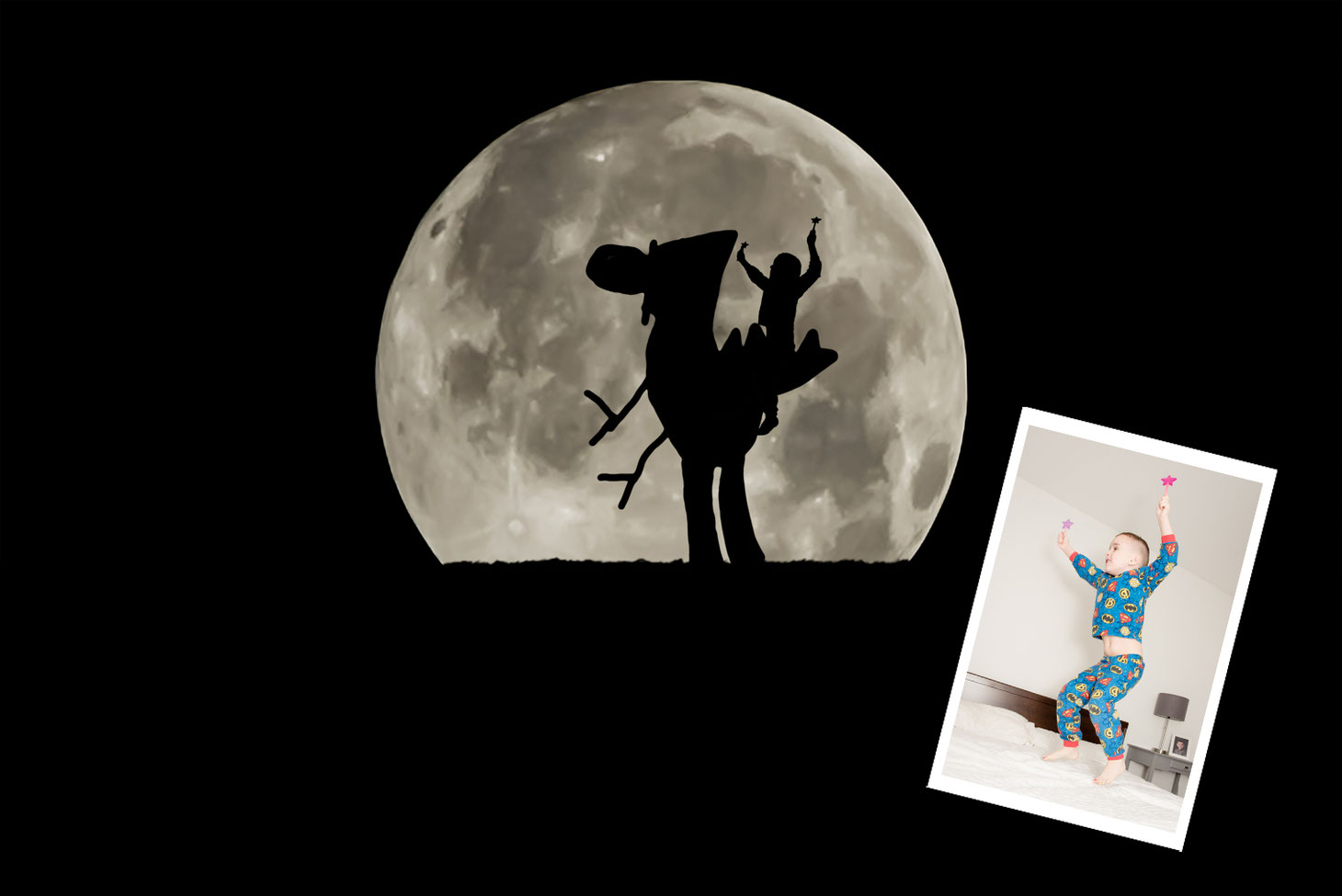 Photo of child riding a child's drawing of a dinosaur in silhouette in front of a large moon. Imposed on the photo is the original photo of the child not in silhouette. Child is wearing blue pyjamas with superhero logos. He is jumping on a bed.