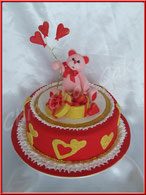 Tutoriel pour décorer un gâteau de la Saint-Valentin, Teddy Love, ourson, coeur, cake design, pâte à sucre