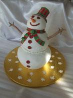tutoriel pour faire un gâteau bonhomme de neige en 3D, cake design, pate à sucre, pâtisserie, cecile cc, chic choc cake, boutique en ligne