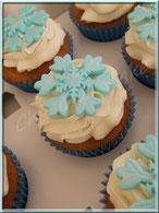 cupcake, topping, flocon neige, reine des neiges, blanc, bleu, cake design, pâtisserie