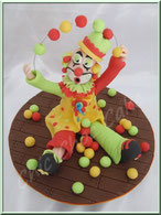 Tutoriel pour modeler un clown qui jongle, pâte à sucre, cake design