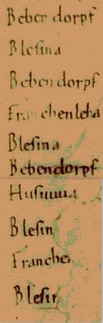 Ausschnitt aus dem Hersfelder Zehntverzeichniss