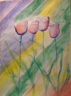 Tulpen Aquarell und Pastellkreide auf Aquarellpapier