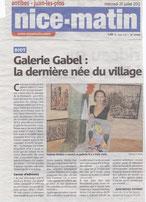 artcle Nice-Matin galerie côte d'Azur, galerie d'art à Biot, jeunes artistes , Mendjisky,Tobiasse
