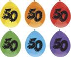 """Ballonnen """"50"""" 6 stuks € 2,25"""