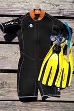 shorty wetsuit 4mm for intro dive and warm season, HiRO DiVE BORA BORA