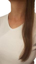 lange, glatte Haare