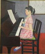 ピアノを弾く少女 油彩20号