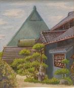 青い屋根のある風景   油彩10号