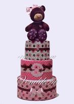 """Торт из памперсов  для девочки """" Мишутка """"  (Шоколадный десерт)"""