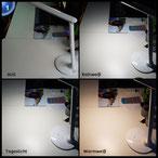 ALED LIGHT ®3 Farbe(warm white,cool white,Natural light)5 Helligkeitsstufen Tischleuchte, Schreibtischlampe, Nachttischlampe, LED-Platte, zusammenklappbar, abnehmbar, Helligkeit verstellbar durch Taste, Kalender, Wecker, MIT USB[Energieklasse A]