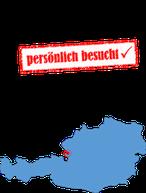 """Österreich-Karte mit """"persönlich besucht"""" Stempel"""