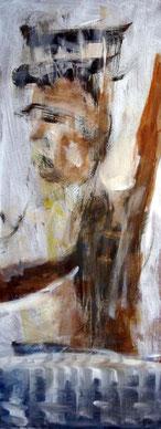 Koenig auf Balkon, 23 cm x 58 cm, Gouache, Lack auf Holz, 2004, Privatbesitz