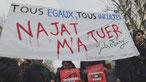 """Slogan """"Najat m'a tuer"""" sur une banderolle"""