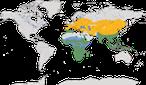Karte zur Verbreitung der Ordnung der Hopf- und Hornvögel (Bucerotiformes)