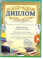 """Диплом II степени в номинации """"Народный танец. Ансамбли"""""""