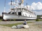 """Der Schaufelraddampfer """"Klondike"""" ist außer Betrieb. Er ist das Wahrzeichen von Whitehorse. Zur Zeit des Goldrausches hat er am Yukon die Stecke nach Dawson City bedient."""