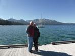 Ja sind wir denn am Ammersee? Nein, es ist der Lake Tahoe. Er ist einer der höchsten, größten, tiefsten (500 m), saubersten und kältesten Seen der Welt.