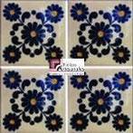 Azulejo Talavera modelo Roberta en 10.5 x 10.5 cm, ideal para baños y cocinas mexicanas lo encuentras en Rústicos Artesanales visítanos en nuestra web www.rusticosartesanales.com