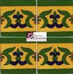 Azulejo Talavera modelo Guía Especial Mostaza con Cobalto en 10.5 x 10.5 cm, ideal para baños y cocinas mexicanas lo encuentras en Rústicos Artesanales visítanos en nuestra web www.rusticosartesanales.com