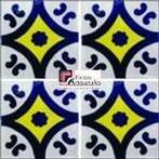 Azulejo Talavera modelo Puebla Azul con Amarillo en 10.5 x 10.5 cm, ideal para baños y cocinas mexicanas lo encuentras en Rústicos Artesanales visítanos en nuestra web www.rusticosartesanales.com