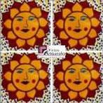 Azulejo Talavera modelo Sol Punteado en 10.5 x 10.5 cm, ideal para baños y cocinas mexicanas lo encuentras en Rústicos Artesanales visítanos en nuestra web www.rusticosartesanales.com