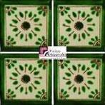 Azulejo Talavera modelo Jardín Verde en 10.5 x 10.5 cm, ideal para baños y cocinas mexicanas lo encuentras en Rústicos Artesanales visítanos en nuestra web www.rusticosartesanales.com