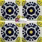 Azulejo Talavera modelo Hacienda Azul/Amarillo en 10.5 x 10.5 cm, ideal para baños y cocinas mexicanas lo encuentras en Rústicos Artesanales visítanos en nuestra web www.rusticosartesanales.com