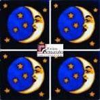 Azulejo Talavera modelo Luna Azul Turquesa en 10.5 x 10.5 cm, ideal para baños y cocinas mexicanas lo encuentras en Rústicos Artesanales visítanos en nuestra web www.rusticosartesanales.com