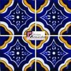 Azulejo Talavera modelo Palacio Azul con Amarillo en 10.5 x 10.5 cm, ideal para baños y cocinas mexicanas lo encuentras en Rústicos Artesanales visítanos en nuestra web www.rusticosartesanales.com