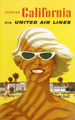 Original vintage United Air Lines poster collection