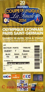 Ticket  Lyon-PSG  2013-14