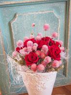 プリザーブドフラワー,花束,赤バラ,千日紅