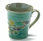 九谷焼『マグカップ』椿に鳥緑塗り『中絵』