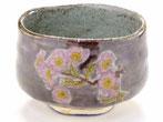 九谷焼 抹茶碗 ソメイヨシノ紫塗り