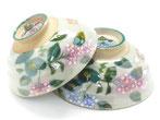 九谷焼 ペア飯碗 がく紫陽花 裏絵