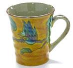 九谷焼『マグカップ』濃い塗り花鳥 下塗り