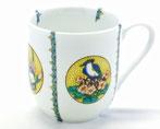 九谷焼『マグカップ』磁器 丸紋 吉田屋 花鳥 小紋付 中裏絵