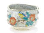 九谷焼 抹茶碗 椿に鳥
