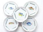九谷焼通販 おしゃれな小皿 皿揃え 4寸 梅型 魚紋 裏絵