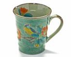 九谷焼 マグカップ 椿に鳥緑塗り 中絵