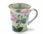 九谷焼『マグカップ』がく紫陽花ピンク&ブルー『裏絵』