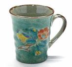九谷焼『マグカップ』緑塗り椿に鳥『裏絵』