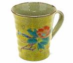 九谷焼『マグカップ』黄塗り椿に鳥『裏絵』