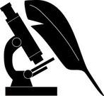 Feder, Schreibfeder, Mikroskop, Wissenschaft, Illustration, Logo