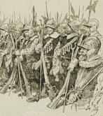 détail scène militaire du XVIe  dessin Charles Pille (XIXe)